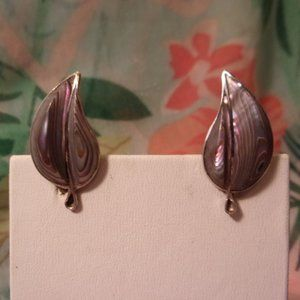 Vintage Sterling Shell Leaf Screw Back Earrings